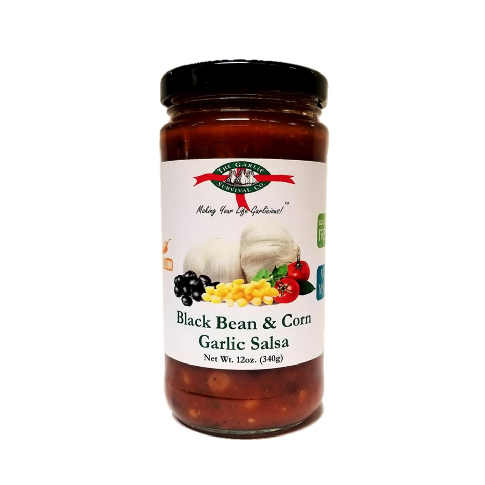 The Garlic Survival Company Black Bean & Corn Garlic Salsa Case of 12